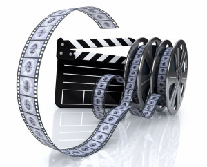 3d illustration of a film reels and film state